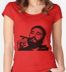 Young Fidel Castro Smoking Cigar Women's Fitted Scoop T-Shirt