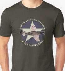 Vintage Look North American Aviation P-51 Mustang Fighter T-Shirt