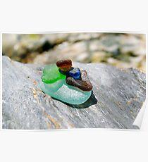 beach glass cairn Poster