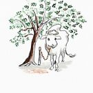Indian cow, golden chain by Helen Imogen Field