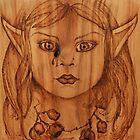 Pyrography: Gumnut Wood Nymph's Tear by aussiebushstick