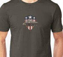 Vintage Look Sherman Tank on Captain America Style Shield Unisex T-Shirt