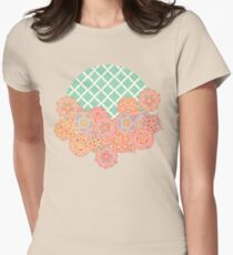 Floral Doodle on Mint Moroccan Lattice Womens Fitted T-Shirt