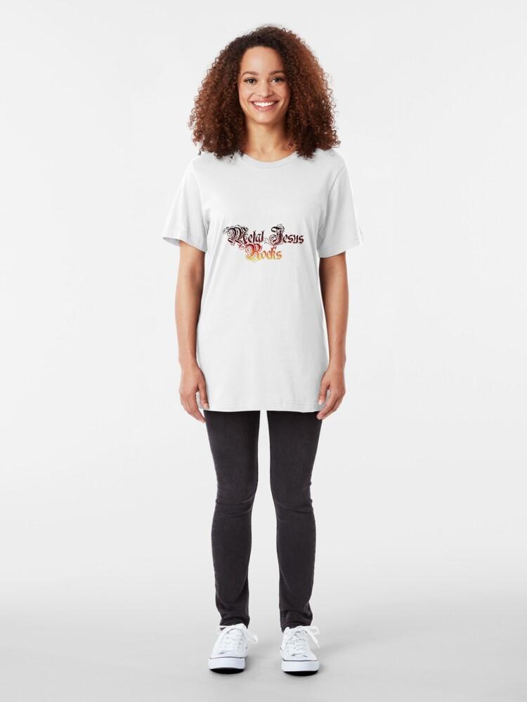 Alternate view of Metal Jesus Rocks - Fancy Lettering Slim Fit T-Shirt