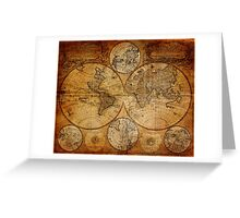 Old vintage world's map Greeting Card