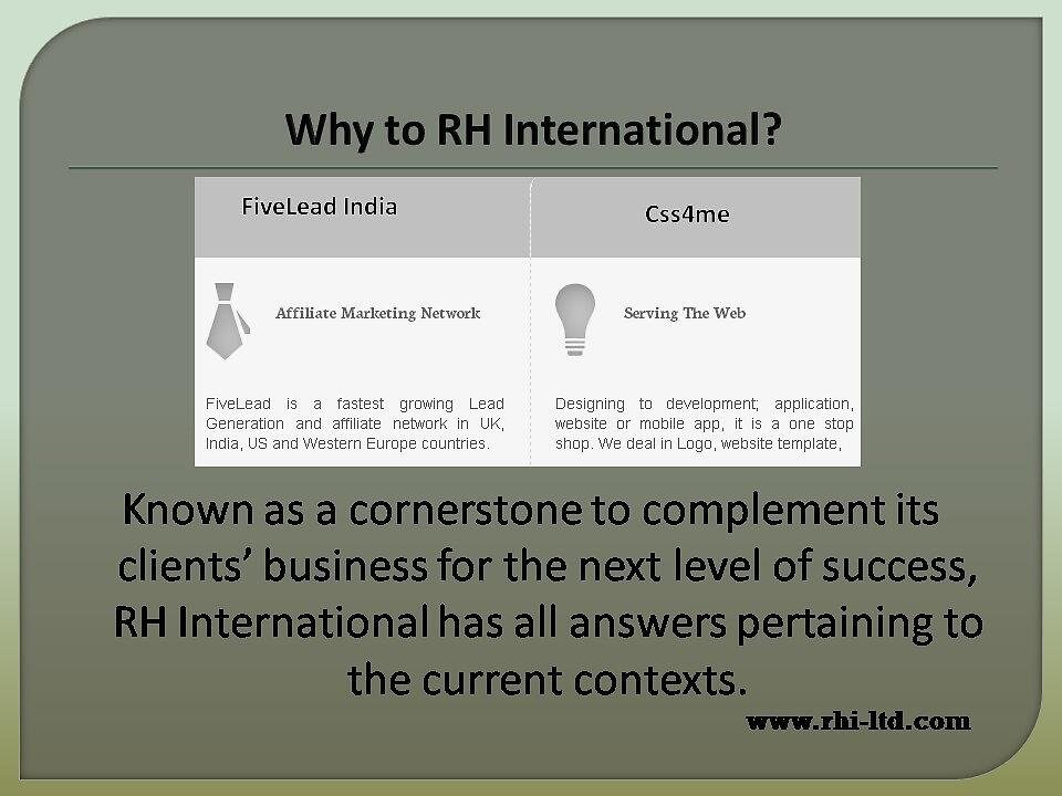 RH International services by rhiltd