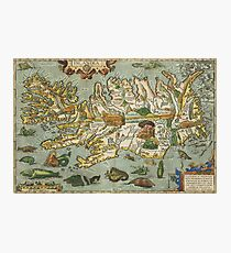 Iceland Map 1590 Photographic Print