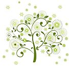 Pastel green abstract floral tree illustration by artonwear