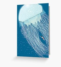 Swimming with the jellyfish Greeting Card
