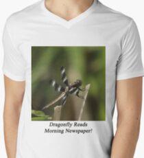 Dragonfly Reads Morning Newspaper Men's V-Neck T-Shirt