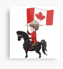 Mountie on horse with flag of Canada in hand Metal Print