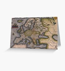 Europe Map 1572 Greeting Card