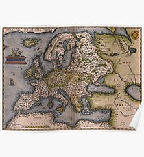 Europe Map 1572 Poster