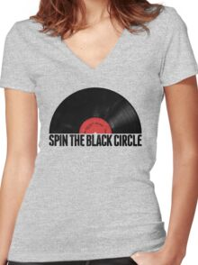 Spin The Black Circle Women's Fitted V-Neck T-Shirt
