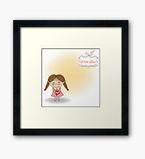 Funny girl with hearts. Doodle cartoon character. Vector Illustration. Framed Print