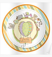 cute baby shower card with animals and toys Poster