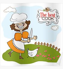 the best cook certificate with funny cook who runs a chicken Poster