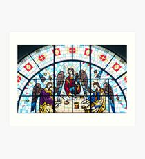 Jesus and Apostles Stained Glass Window Art Print
