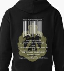 bar code with green Skippy badge for dark shirts Pullover Hoodie
