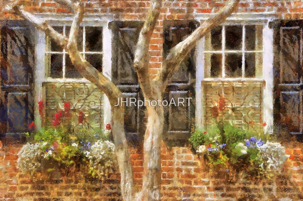 Flower-Filled Window Boxes on Tradd St - Charleston SC by JHRphotoART