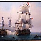 Early painting of the battle of Trafalgar 1805. by Mike Jeffries