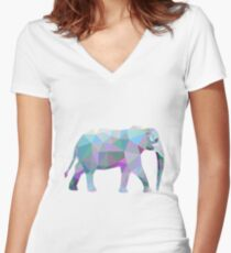Elephant Animals Gift Women's Fitted V-Neck T-Shirt