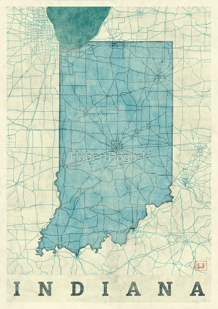 Indiana Map Blue Vintage by HubertRoguski