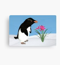 Humorous Penguin and Pink Flowers  Canvas Print
