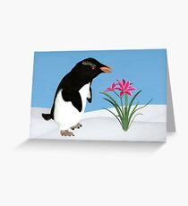 Humorous Penguin and Pink Flowers  Greeting Card