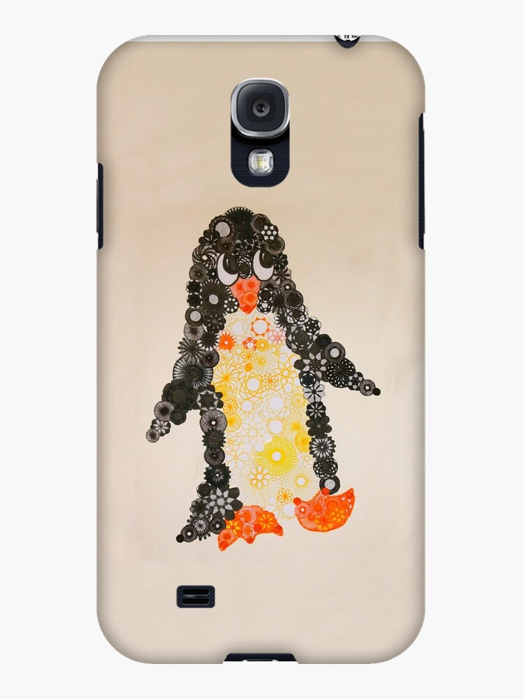 Spirograph Penguin in black, yellow and orange by RachelEDesigns