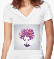 Women butterflies Women's Fitted V-Neck T-Shirt