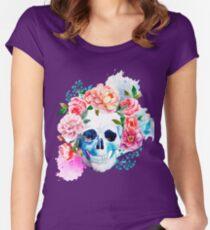 Skull flower art Women's Fitted Scoop T-Shirt
