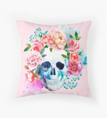Skull flower art Throw Pillow
