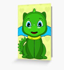 Green And Blue Chibi Dragon Greeting Card