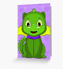 Green And Yellow Chibi Dragon Greeting Card