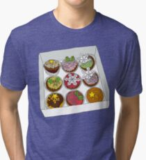 Christmas Cup Cakes Tri-blend T-Shirt