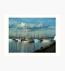 A Lazy Day on the Bay at Williamstown, a Safe Harbour. Vic, Aust* Art Print