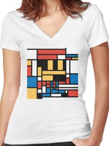 Super Mondrian Women's Fitted V-Neck T-Shirt