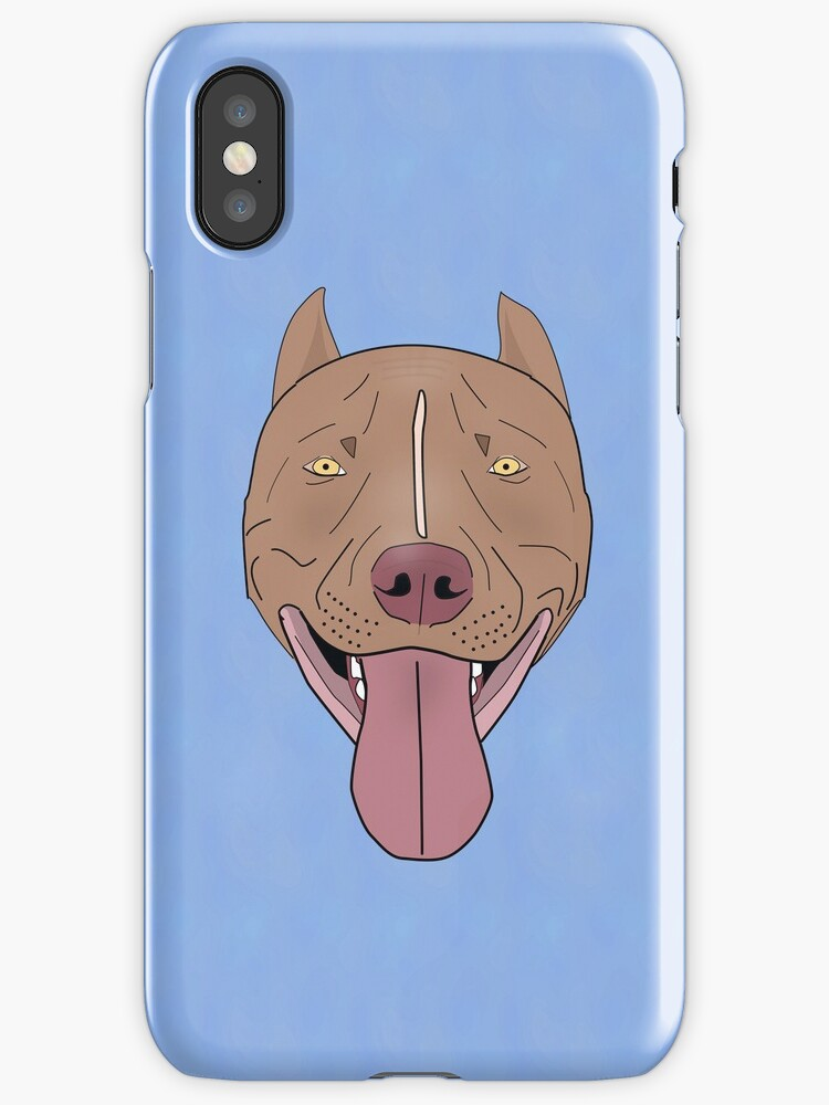 Smiling Red Nose Pitbull with his Tongue Out - Line Art by ibadishi