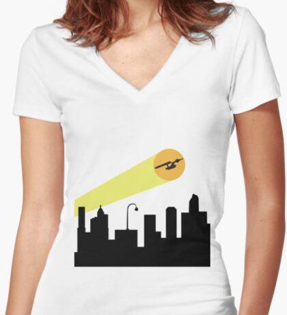 Bat Signal: Starship Women's Fitted V-Neck T-Shirt