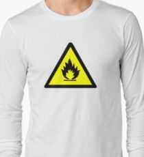 Flammable Warning Sign Long Sleeve T-Shirt