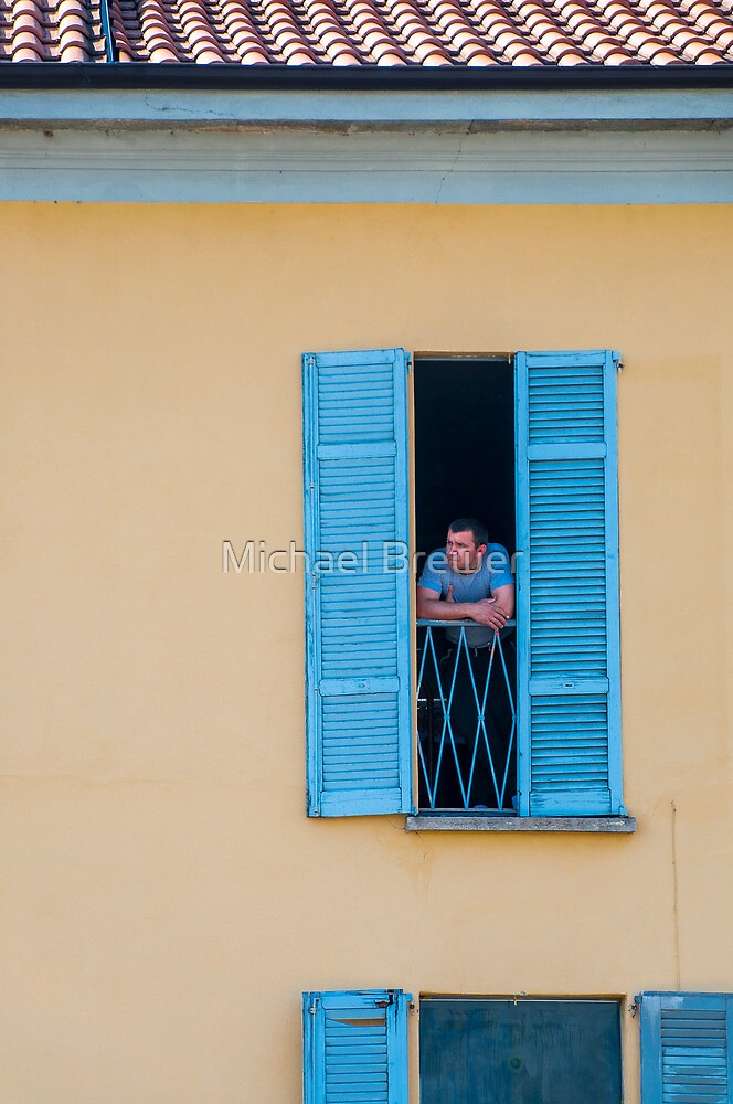 Man Looking Out of a Window by Michael Brewer