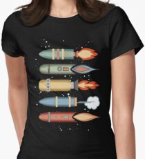 Colorful outer space rockets flaming jet pack clouds T-Shirt