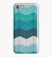 Teal Crocheted Afghan Blanket iPhone Case/Skin