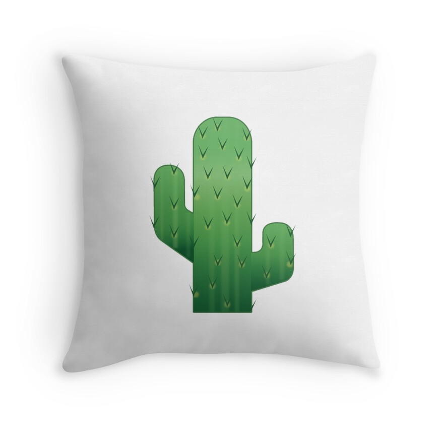 Quot Cactus Emoji Quot Throw Pillows By Elliegillard Redbubble