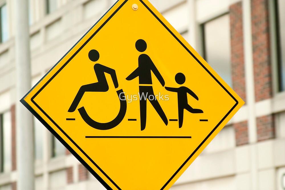 Adult, children and handicap Pedestrian Sign by GysWorks