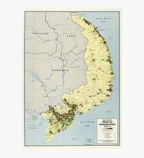 South Vietnam Population and Administrative Divisions Map September 1972 Photographic Print