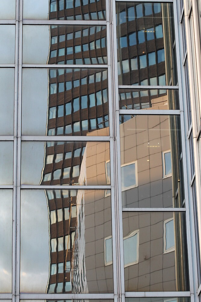 Reflection in skyscraper windows by UpNorthPhoto