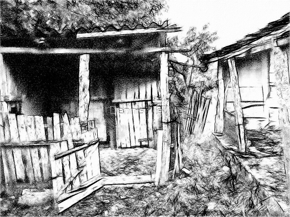 A black & white digital painting of our Pigstye and Barn in Romania by Dennis Melling