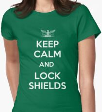 Keep Calm and Lock Shields Womens Fitted T-Shirt